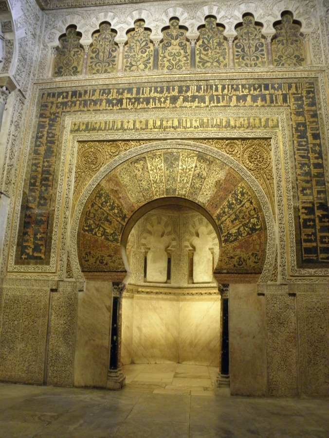 The original mihrab (=prayer niche), a staple in any mosque design, it gives the direction to Mekkah and usually is designed with great acoustics, so that the Imam's recitation as he leads the prayer from inside, is heard by all the congregation.
