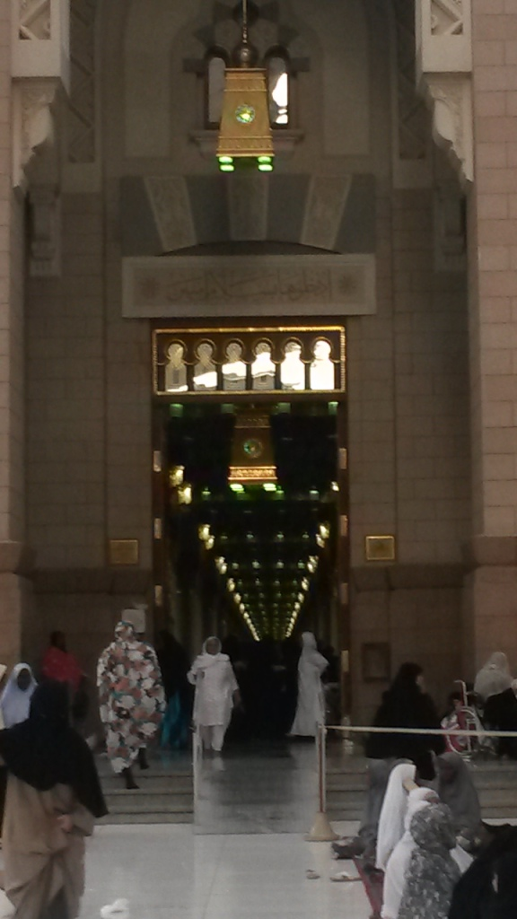 One of the entrances to the prophet's mosque in Madinah, 'Masjid al-Nabawi'. The second holiest place for Muslims, after Makkah. No photographs are allowed inside. It is the most beautiful, serene, peaceful mosque I have ever been in. The feeling of 'rahma' (=love, mercy, compassion, kindness) there is palpable.