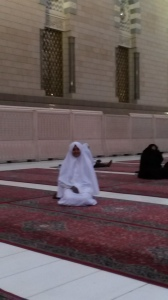 Just after dawn, I have changed into my Ihram and ready to go.